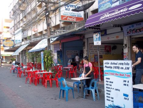 Bus services to Koh Phangan depart from in front of these Cafes by Surat Thani station