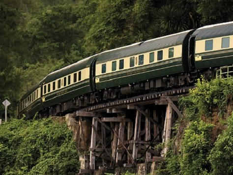 Eastern and Oriental Express crossing the bridge over the River Kwai