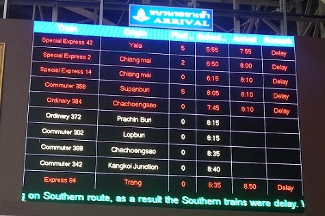 Display board showing train arrivals at Bangkok Train Station