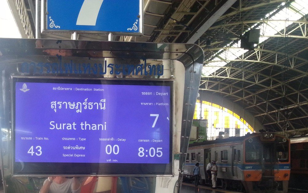 Train #43 departing from Bangkok at 08.05