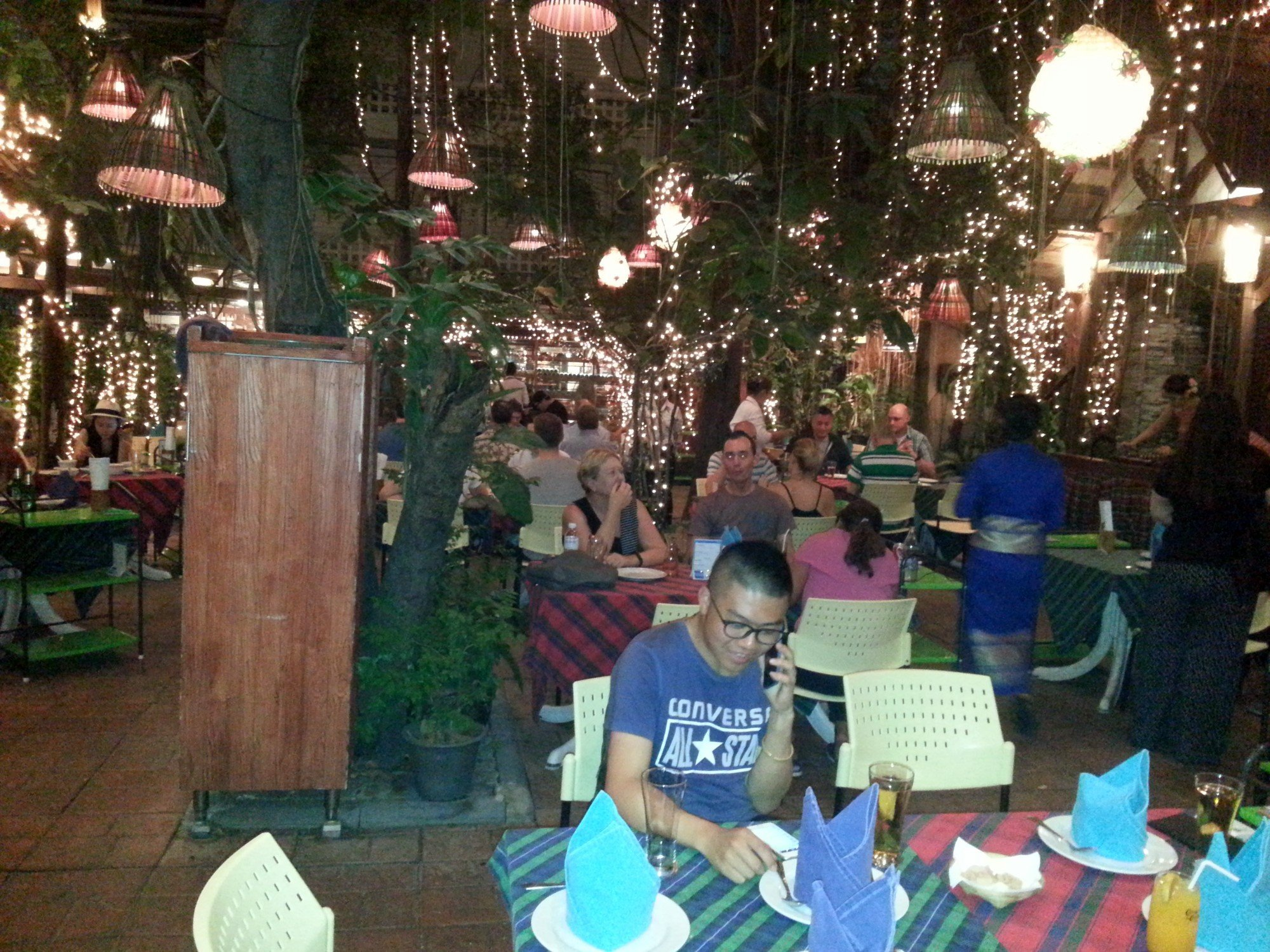 Garden dining area at Cabbages & Condoms