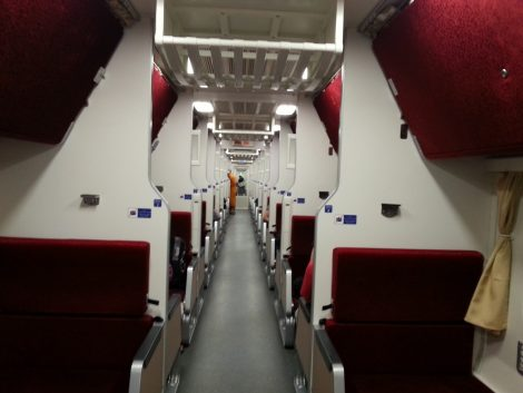 Modern style of carriage on a Thai train