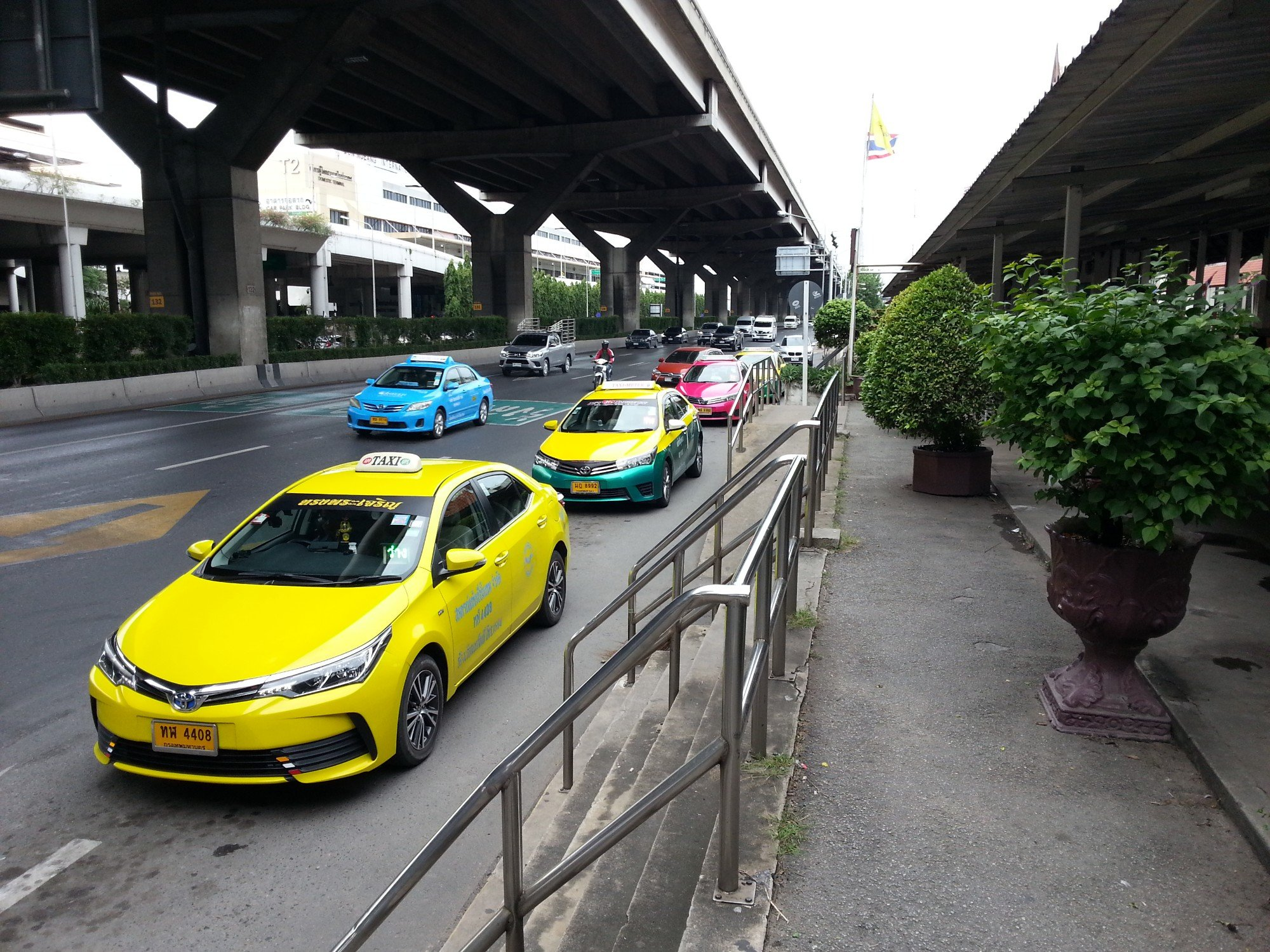 Meter taxis outside Don Mueang Airport Railway Station