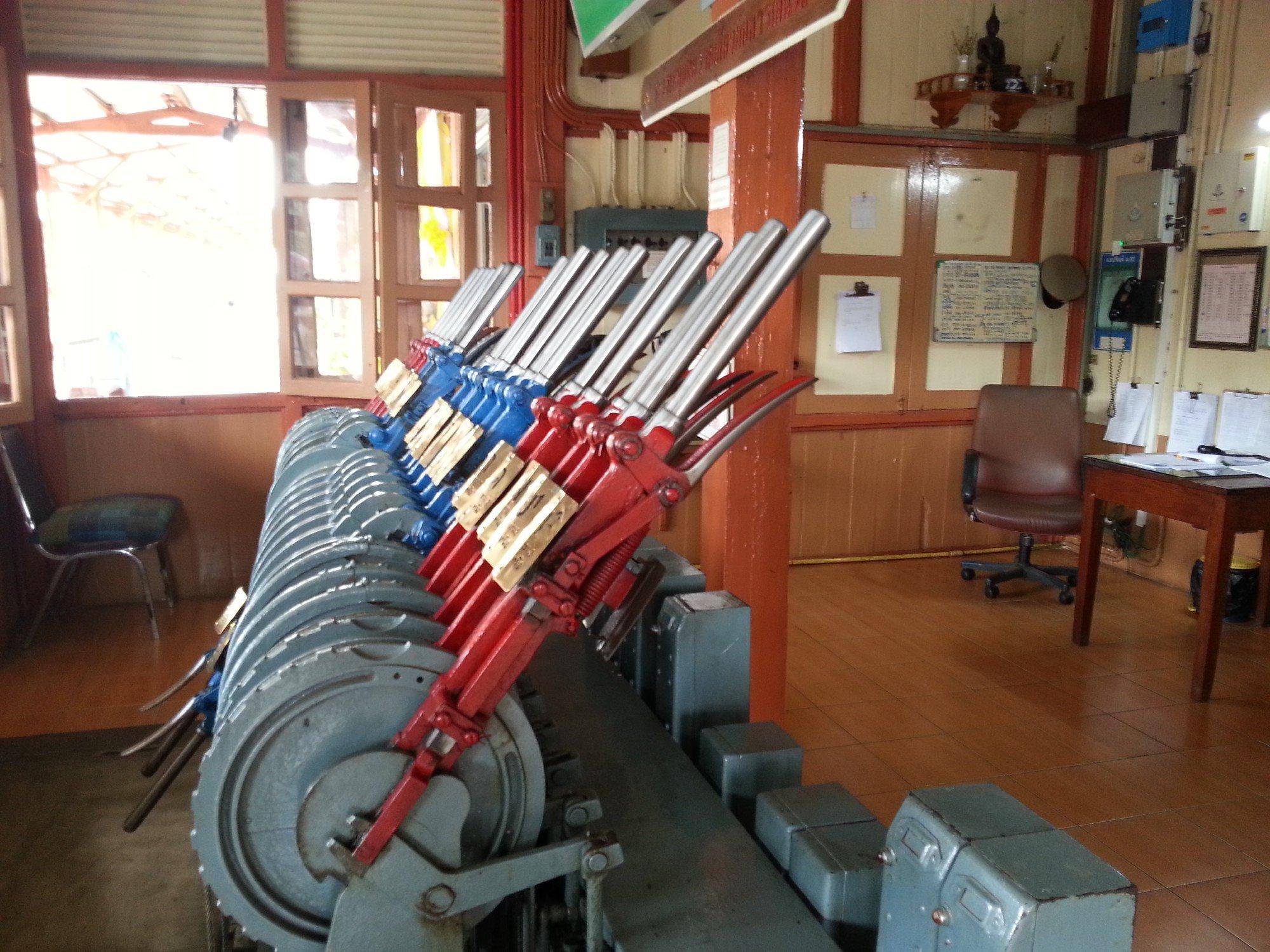 Manually operated signal box levers at Lamphun Railway Station