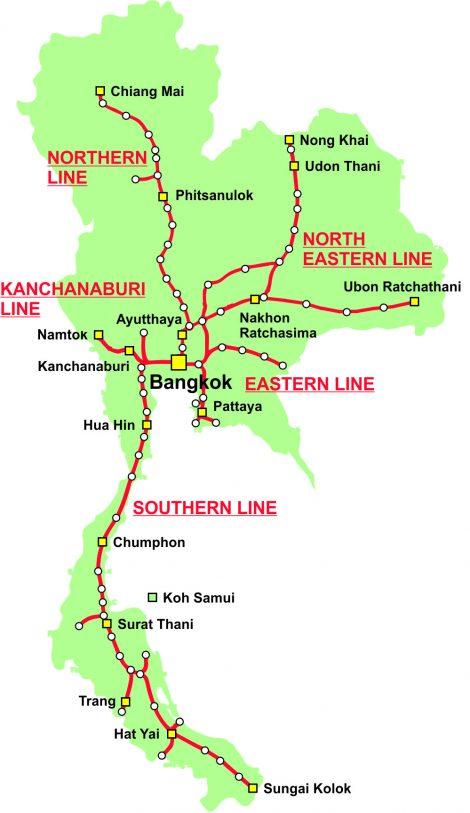 Thailand Railway Map