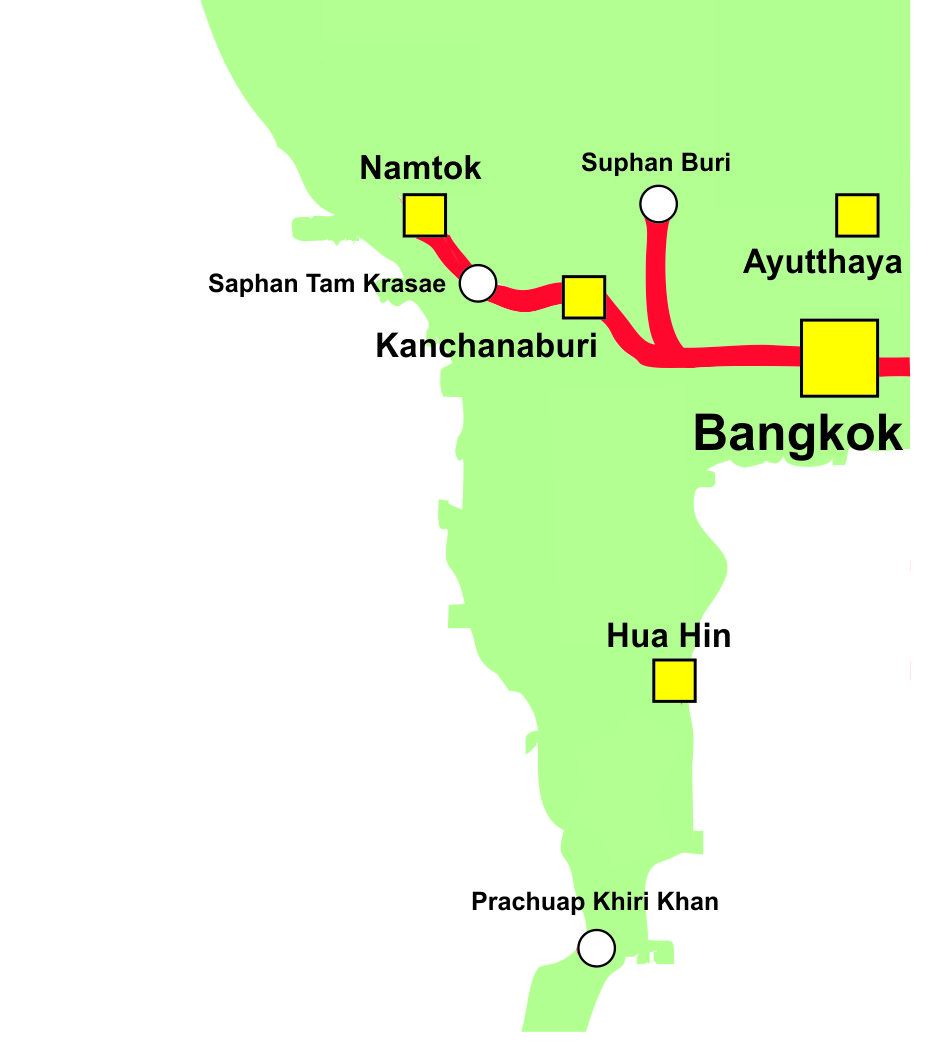 Thailand Railway Map Kanchanburi Line