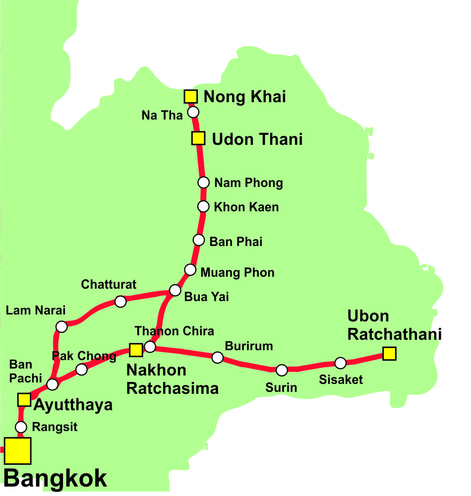 Thailand Railway Map North Eastern Line
