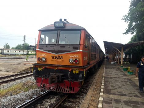 Train arriving at Surat Thani Railway Station