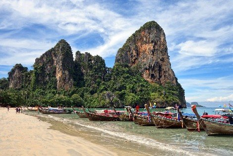 Longtail boats at Railay Beach