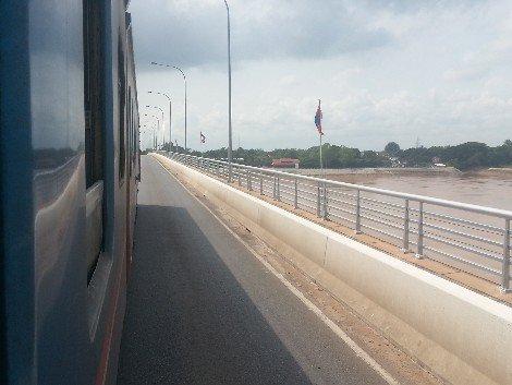 Train crossing the Thai-Lao Friendship Bridge at Nong Khai